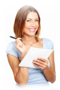 A lady reading an interest in advance loan document